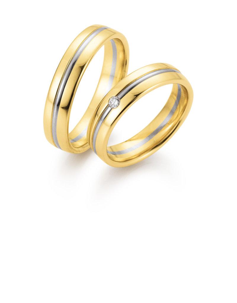 Gettmann Trouwringen - Geel en wit goud - 8366,50 mm - 1 briljant = 0.04 ct
