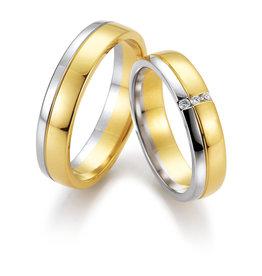 Gettmann Trouwringen - Geel en wit goud - 8369,50 mm - 3 briljanten = 0.045 ct