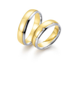 Gettmann Trouwringen - Geel en wit goud - 8374,55 mm - 3 briljant = 0.03 ct