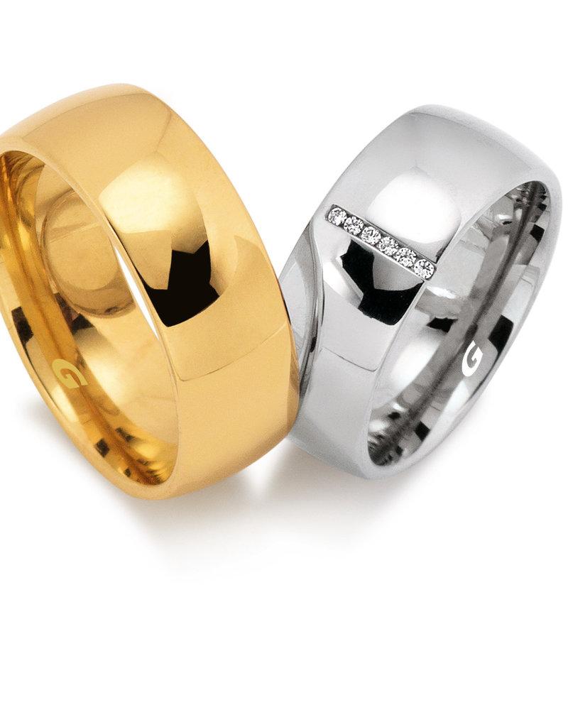 Gettmann Trouwringen - Geel of wit goud - 8062,80 mm - 6 briljanten = 0.03 ct