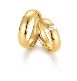Gettmann Trouwringen - Geel goud - 8067,60 mm - 1 briljant = 0.12 ct