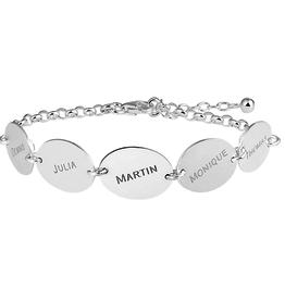 Zilveren naam armband met vijf ovaaltjes