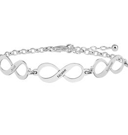 Zilveren naam armband infinity met drie namen