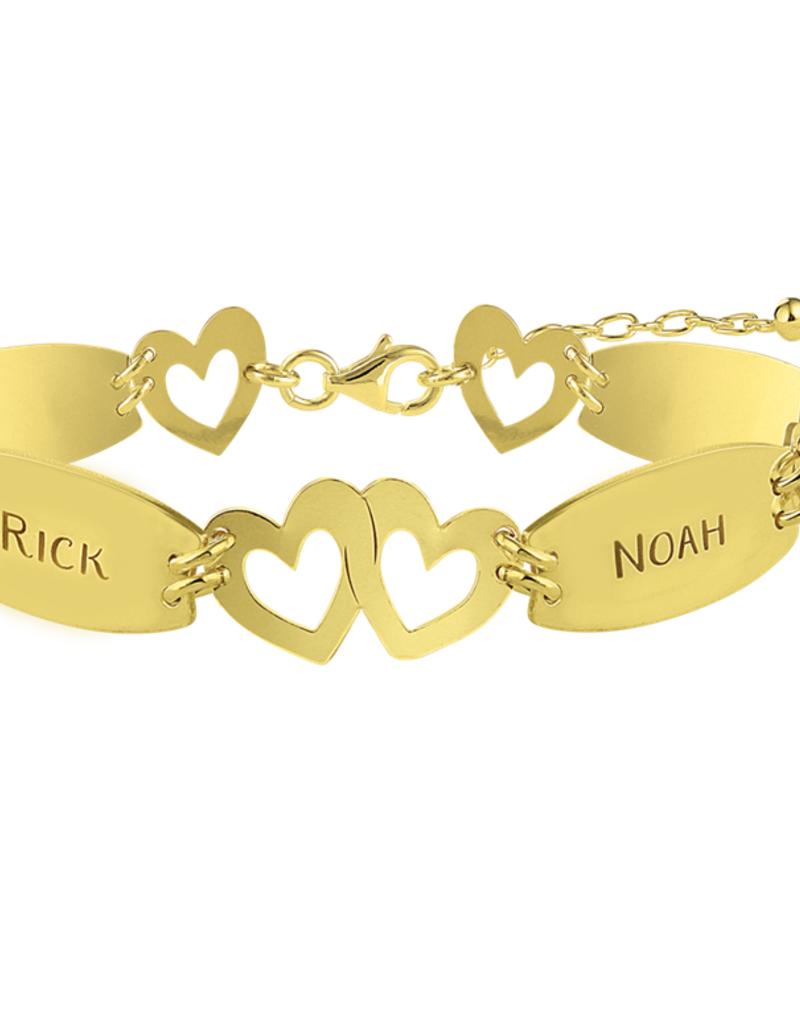 Gouden naam armband hartjes met vier namen