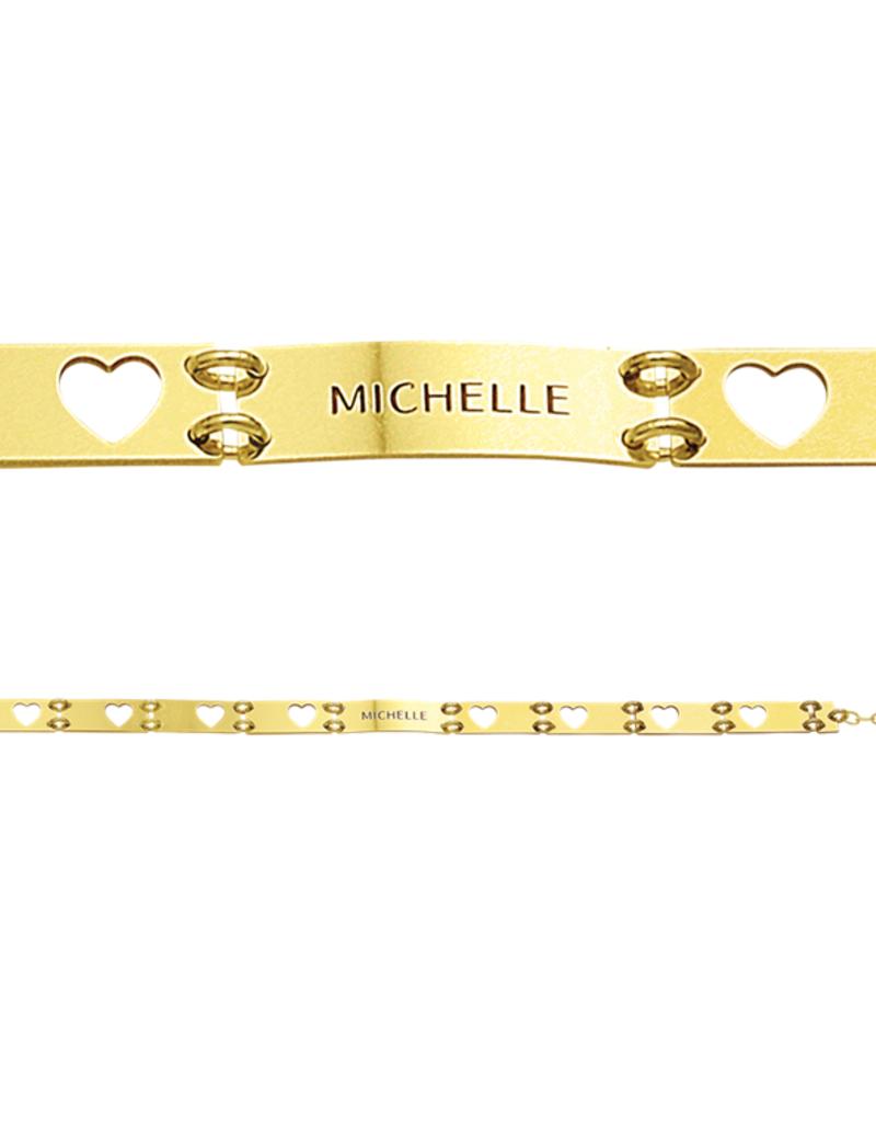 Gouden naam armband uitgesneden hartjes
