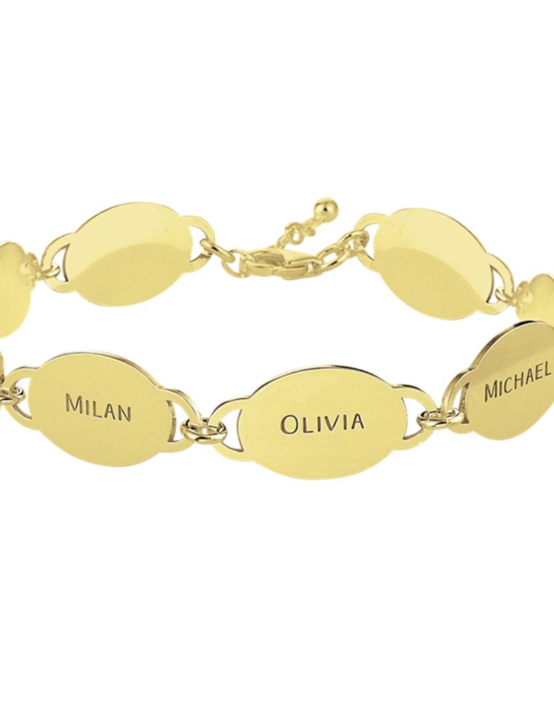 Gouden naam armband met acht ovaaltjes