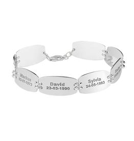 Zilveren naam armband 8 namen en geboortedatum