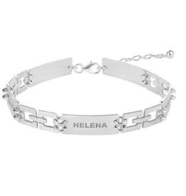 Zilveren naam armband schakels rechthoek 5 namen