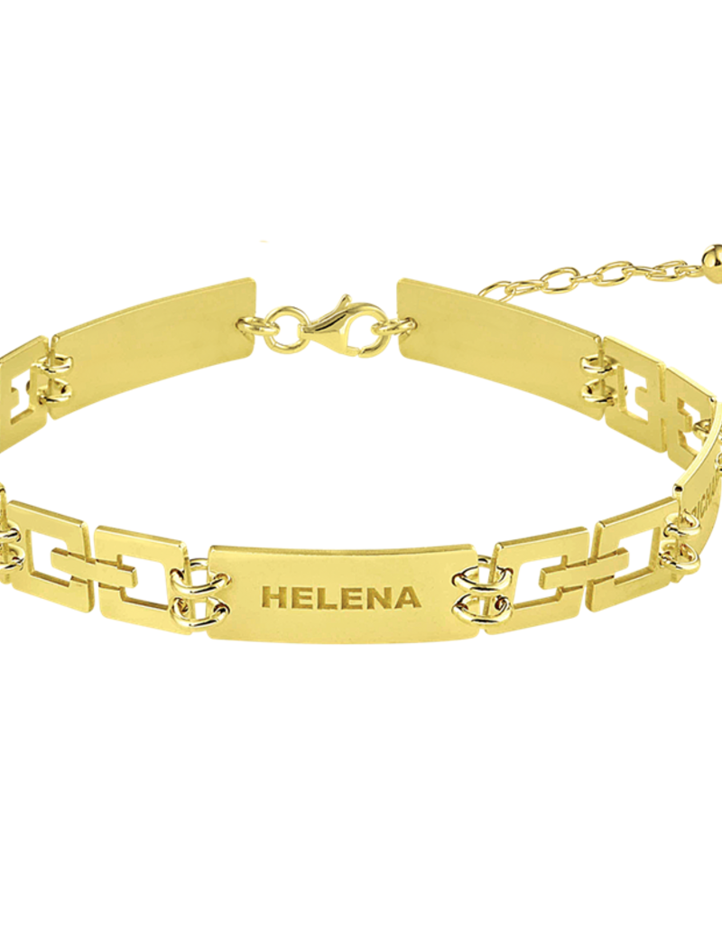 Gouden naam armband schakels rechthoek 5 namen