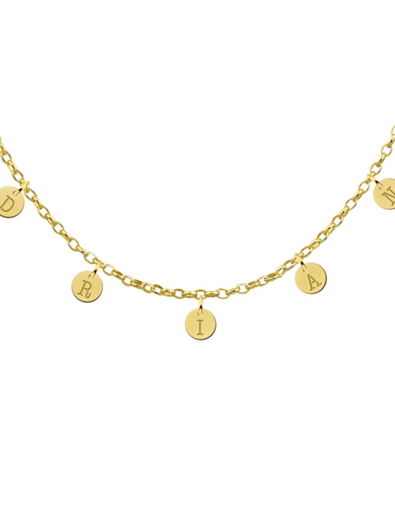 Gouden naam ketting rondjes met max. 8 letters