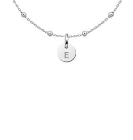 Zilveren ketting ronde hanger met een initiaal