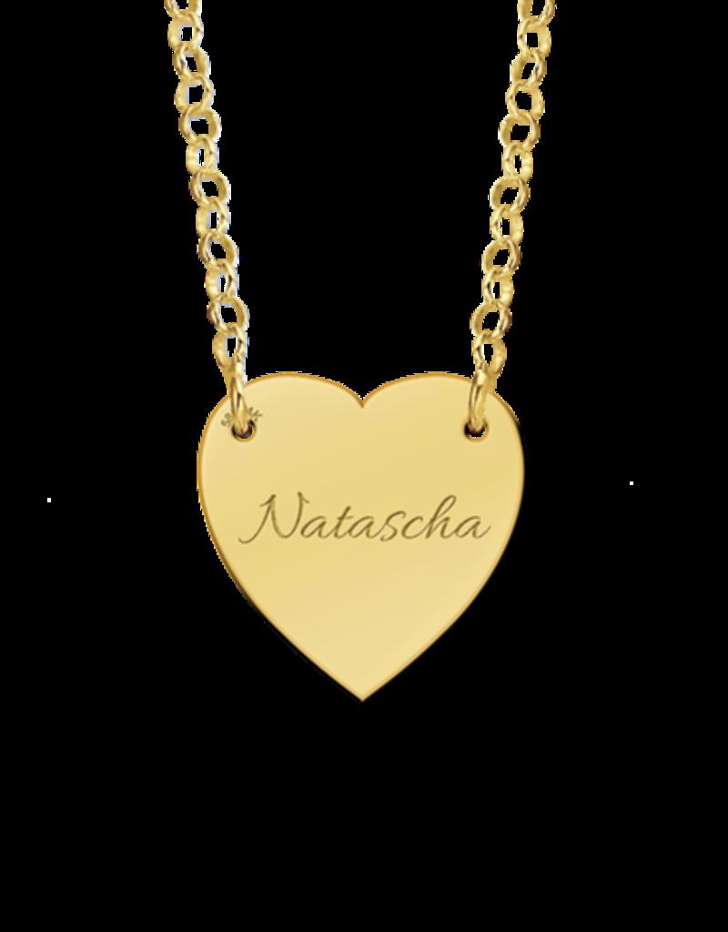 Gouden naam ketting met hartje