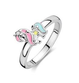 Zilveren ring - Gerhodineerd - Eenhoorn - Multicolor - Maat 14