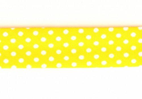 De Stoffenkamer Biaisband geel met stipjes
