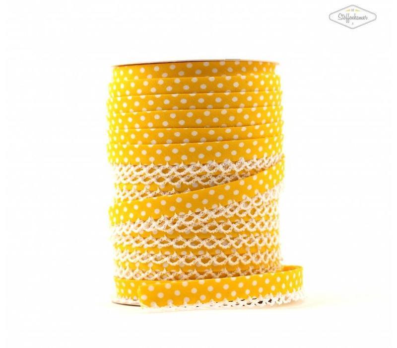 Biaisband met kantje geel met stipjes