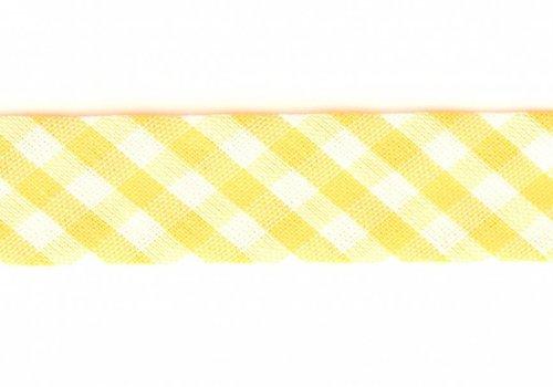 De Stoffenkamer Biaisband geel met ruitjes