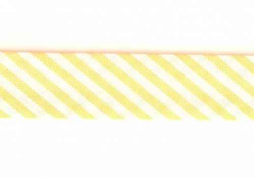 De Stoffenkamer Biaisband geel met streepjes