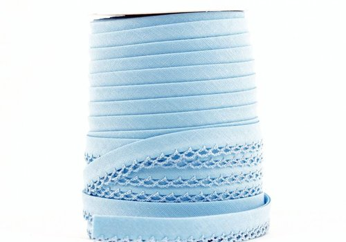 De Stoffenkamer Biaisband met kantje hemelsblauw
