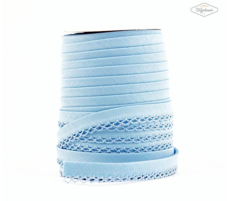 Biaisband met kantje hemelsblauw