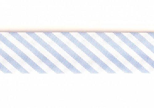 De Stoffenkamer Biaisband lichtblauw met streepjes