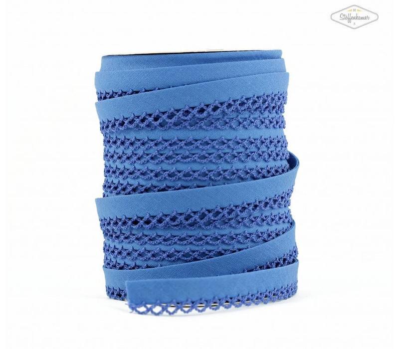 Biaisband met kantje korenbloemblauw