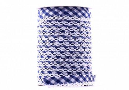 De Stoffenkamer Biaisband met kantje middenblauw met ruitjes
