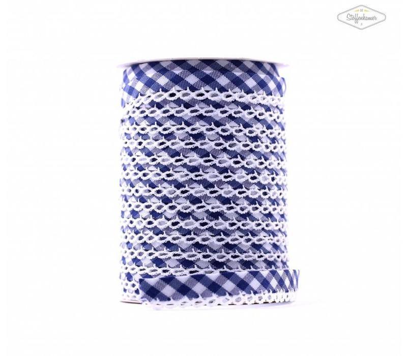 Biaisband met kantje middenblauw met ruitjes