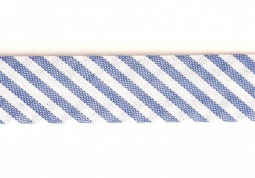 De Stoffenkamer Biaisband middenblauw met streepjes