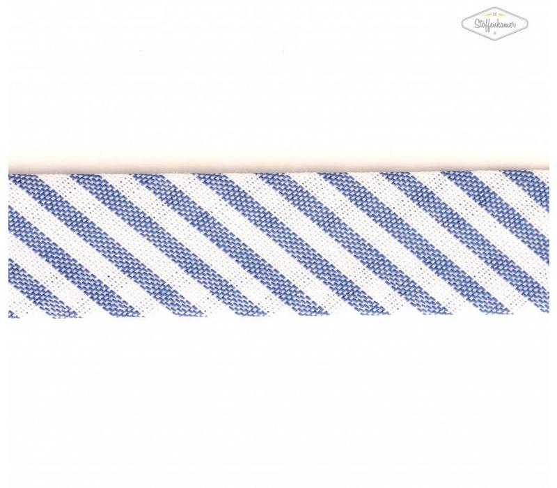 Biaisband middenblauw met streepjes