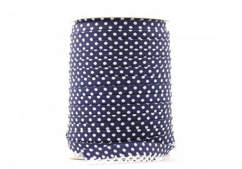 De Stoffenkamer Biaisband met kantje donkerblauw met stipjes