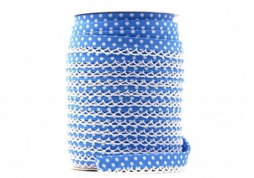De Stoffenkamer Biaisband met kantje lichtturquoise met stipjes