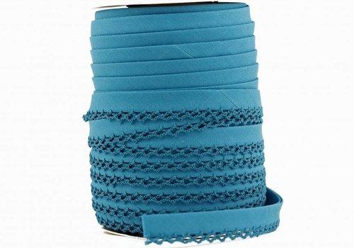 De Stoffenkamer Biaisband met kantje turquoise
