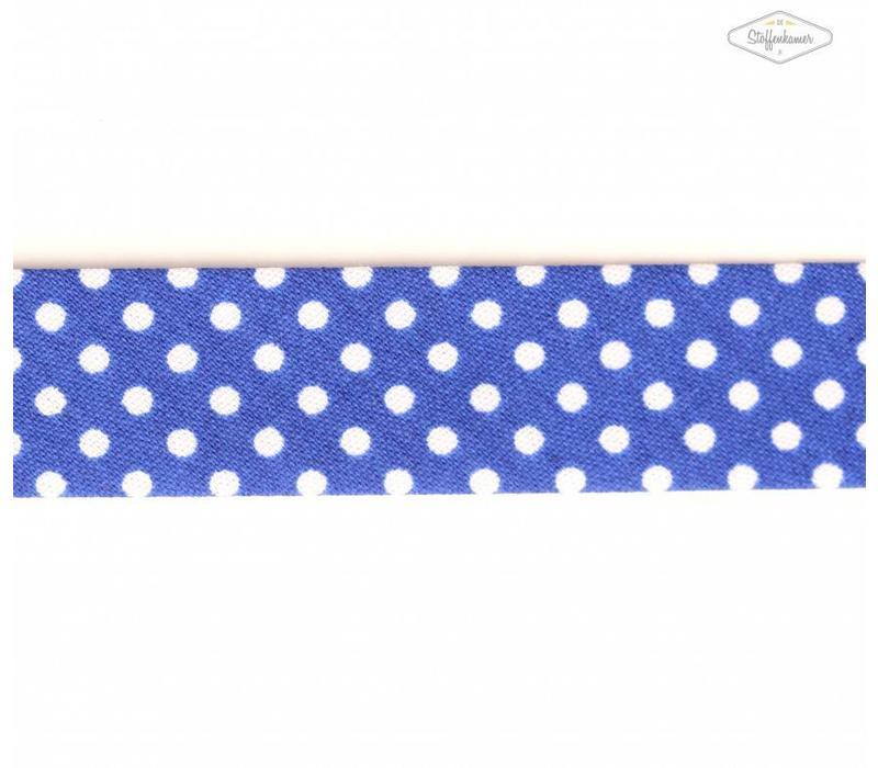 Biaisband kobaltblauw met stipjes