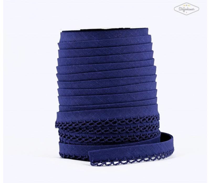 Biaisband met kantje kobaltblauw