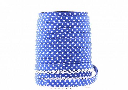 De Stoffenkamer Biaisband met kantje kobaltblauw met stipjes