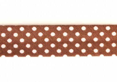De Stoffenkamer Biaisband bruin met stipjes