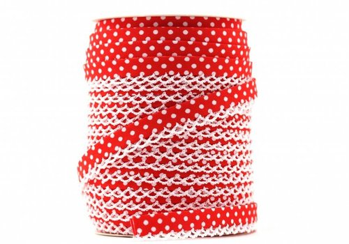 De Stoffenkamer Biaisband met kantje rood met stipjes