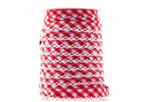 De Stoffenkamer Biaisband met kantje rood met ruitjes