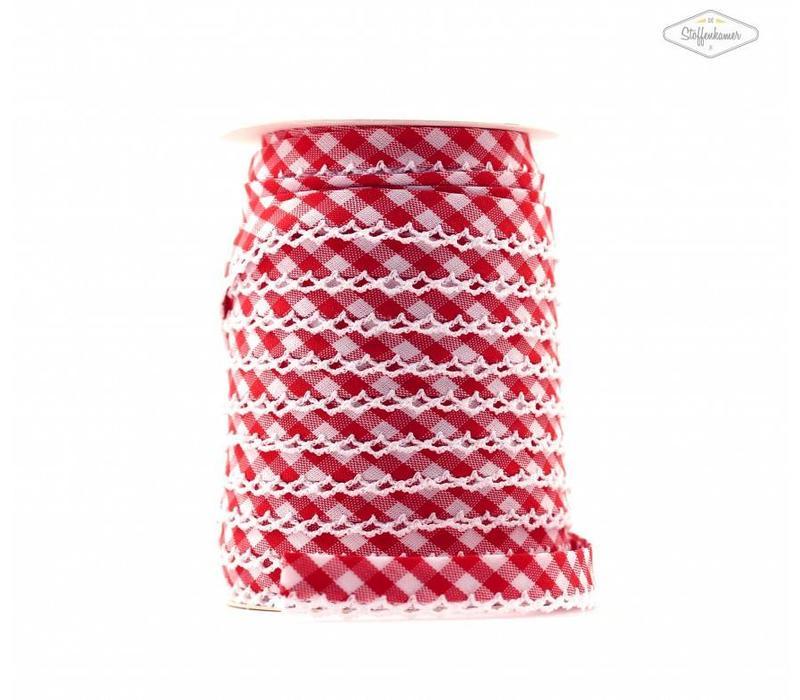 Biaisband met kantje rood met ruitjes