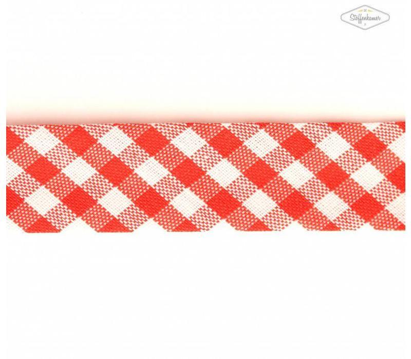 Biaisband rood met ruitjes