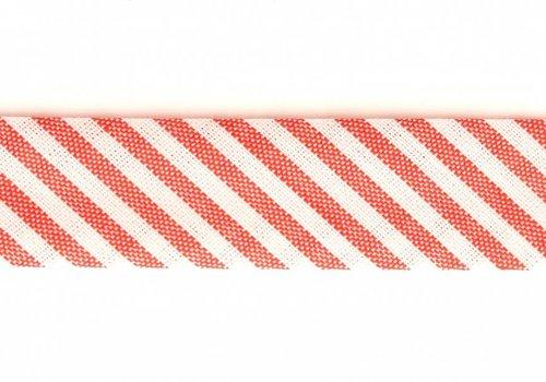 De Stoffenkamer Biaisband rood met streepjes