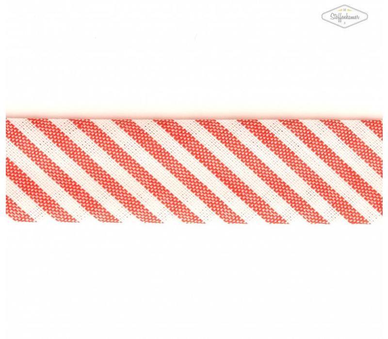 Biaisband rood met streepjes