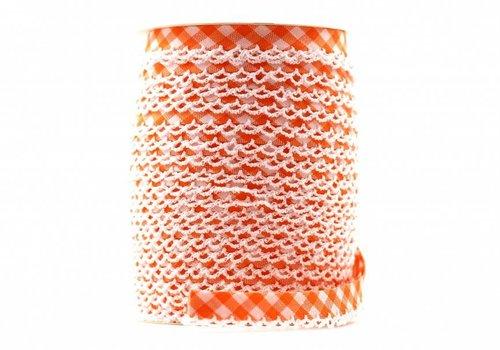 De Stoffenkamer Biaisband met kantje oranje met ruitjes