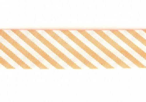De Stoffenkamer Biaisband oranje met streepjes