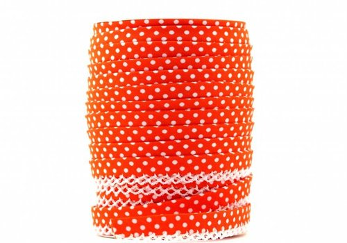 De Stoffenkamer Biaisband met kantje oranjerood met stipjes