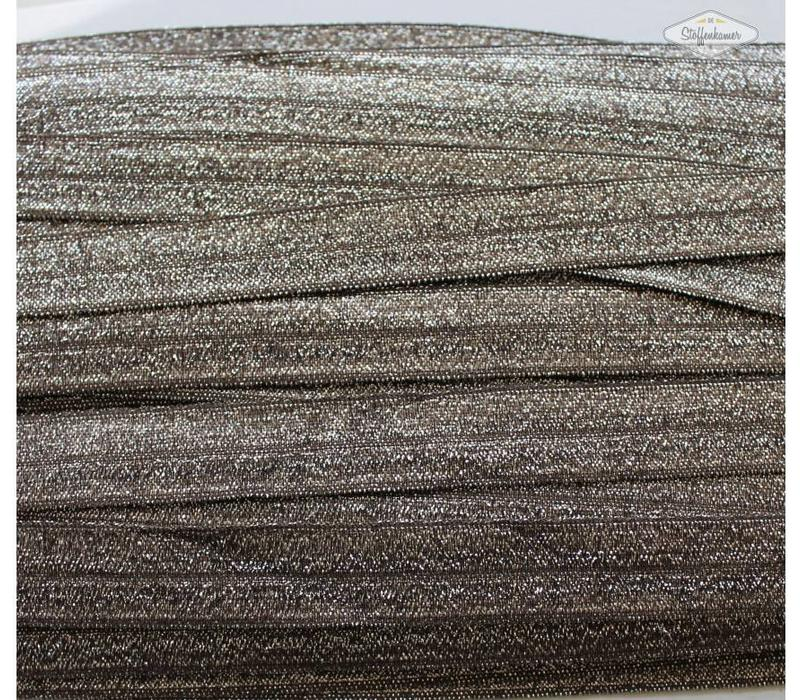 Rekbare biaisband metallic bruin
