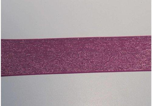 De Stoffenkamer Glitter Elastiek fuchsia 5cm