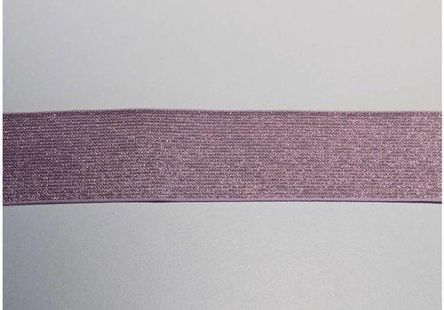 De Stoffenkamer Glitter Elastiek lichtroze 5cm
