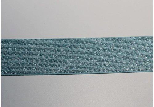De Stoffenkamer Glitter Elastiek turquoise 5cm