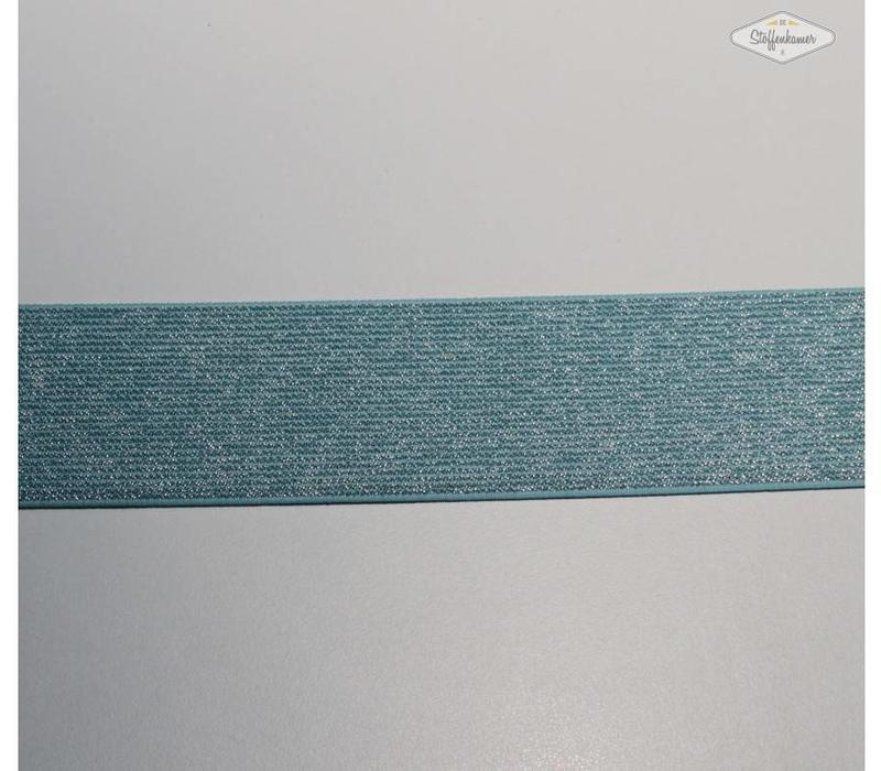 Glitter Elastiek turquoise 5cm